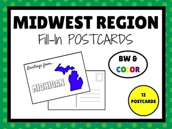 MIDWEST REGION STATES Fill In POSTCARDS (BW & COLOR)