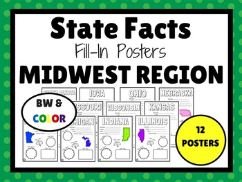 MIDWEST STATES Fill-In Poster Set (12 states)