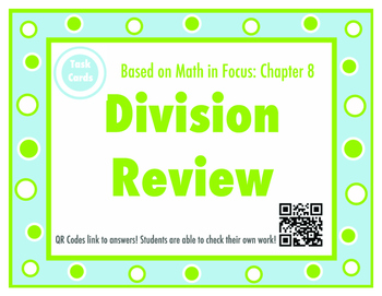 MIF Chapter 8 Division Review Task Cards - 3rd Grade Math In Focus