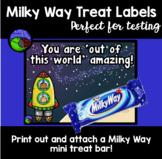 MILKY WAY testing treat labels