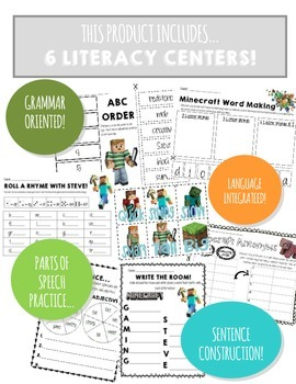 MINE-CRAFT MANIA Literacy Centers