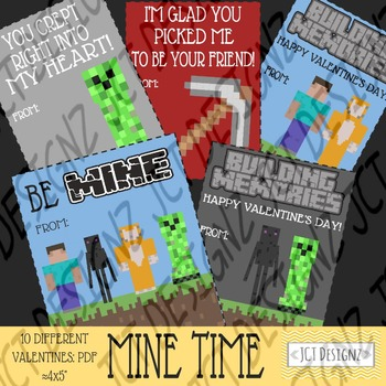 MINE TIME VALENTINES, mine craft inspired valentines, valentines day, mine craft