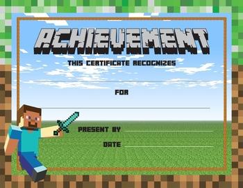 MINECRAFT Reward Award Certificates of Encouragement