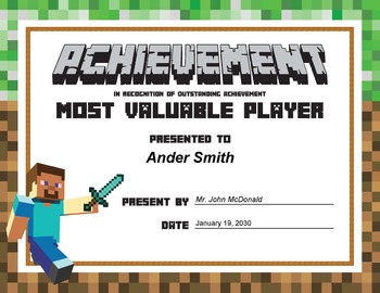 MINECRAFT Reward Award Certificates of Encouragement by ...
