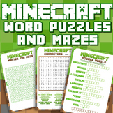 MINECRAFT - WORD PUZZLES  and MAZES - ENGAGING AND FUN