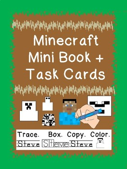 MINECRAFT handwriting TASK cards & handwriting MINI BOOK prek123