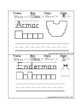 MINECRAFT handwriting TASK cards & handwriting MINI BOOK prek123