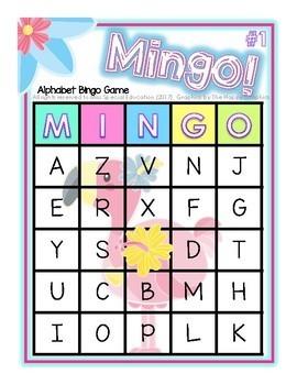 MINGO! Flamingo! - Bingo Game - Alphabet - A to Z - FLAMINGO THEME