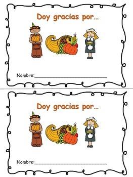 MINI BOOK - Doy gracias por...I am Thankful for in Spanish!