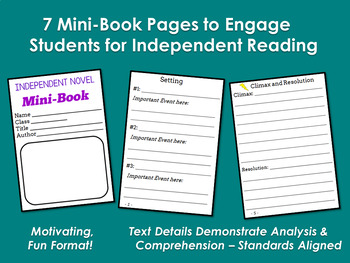 MINI-BOOK FOLDABLE for Independent Novels - Grades 5-6-7-8