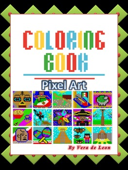 MINI COLORING BOOK-Mexican-Independence Day- 5 de Mayo-Pixel Art-Color by Number