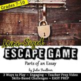 MINI Escape Game Break Out Box Activity, Parts of an Essay
