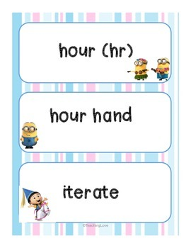 MINION Common Core First Grade Vocabulary