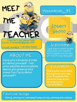 MINION MEET THE TEACHER NEWSLETTER TEMPLATE EDITABLE BACK TO SCHOOL