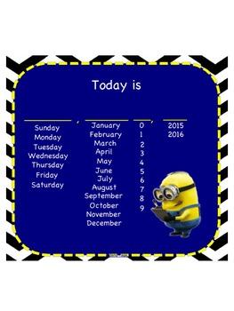 MINION Theme SMART Notebook Morning Calendar  2017-2018