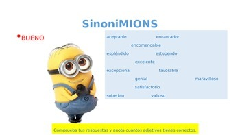 MINIONS ppt: Adjectives in Spanish-Sinónimos