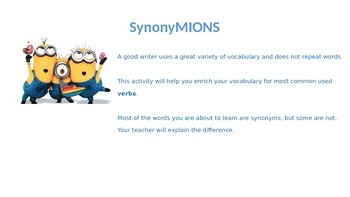 MINIONS ppt: Verbs in English - Synonyms