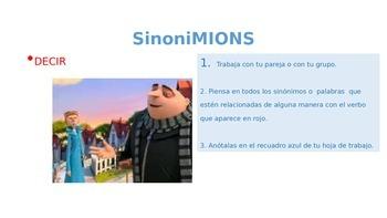 MINIONS ppt: Verbos en español - sinónimos