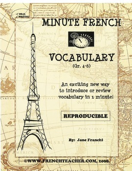 MINUTE FRENCH VOCABULARY - French vocabulary builder - Grade 4-8