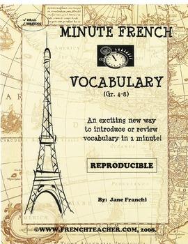 MINUTE FRENCH VOCABULARY - French vocabulary builder - Grade 4-8