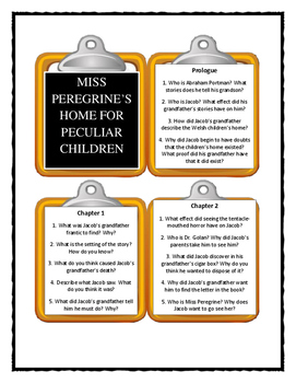 MISS PEREGRINE'S HOME FOR PECULIAR CHILDREN by Ransom Riggs - Discussion Cards