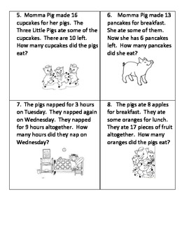 MISSING ADDENDS AND SUBTRAHEND WORD PROBLEMS (3 LITTLE PIGS UNIT)