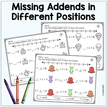 MISSING ADDENDS Addition Equations to 10
