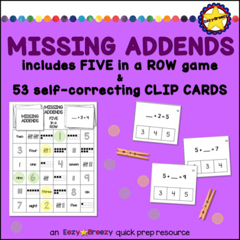 MISSING ADDENDS game and clip cards