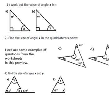 Missing Angles In Shapes Triangles Quadrilaterals And Lines Grades 5 And 6