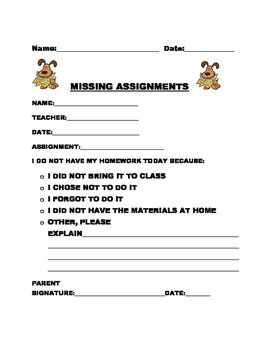 MISSING ASSIGNMENTS