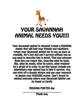 MISSING Animal Poster / habitat