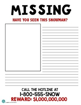 MISSING SNOWMAN DIFFERENTIATED WRITING ACTIVITY *A great Winter Bulletin Board*