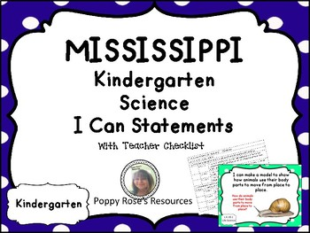 MISSISSIPPI Science I Can Statements - Kindergarten