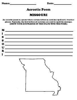 MISSOURI Acrostic Poem Worksheet