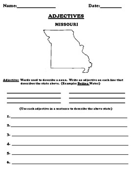 MISSOURI Adjectives Worksheet with Word Search