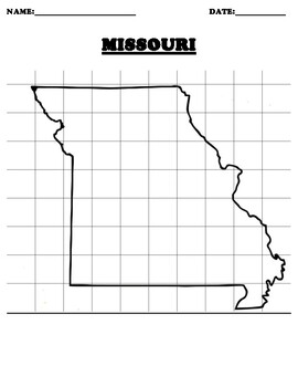 MISSOURI Coordinate Grid Map Blank