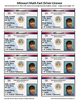 MISSOURI Math Driver's License - Math Fact Incentive Program -TEMPLATES - FREE