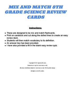 MIX AND MATCH 8TH GRADE SCIENCE STAAR REVIEW CARDS