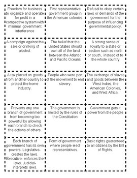 MIX AND MATCH US HISTORY STAAR VOCABULARY REVIEW CARDS