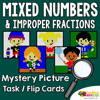 Mixed Numbers and Improper Fractions Mystery Pictures Task Cards/Flip Cards