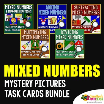 Mixed Numbers Mystery Pictures Task Cards/Flip Cards Bundle