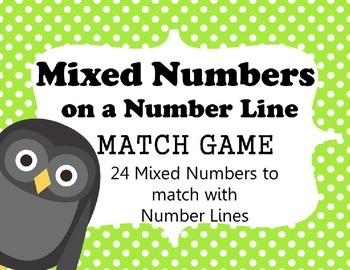 MIXED NUMBERS ON A NUMBER LINE MATCH- 24 Number Line Cards