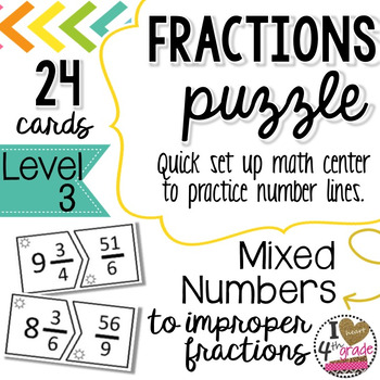 MIXED TO IMPROPER FRACTION PUZZLE (LEVEL 3)