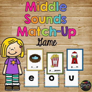 Middle Sounds Match Up Game, Vowels, Literacy Centers, Beg