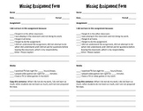 MIssing Assignment Form 1/2 sheets