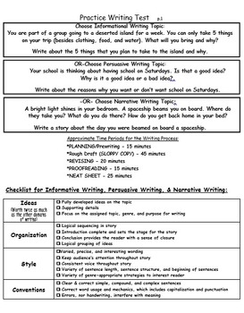 MIxed Genre Practice Writing Test