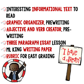Martin Luther King Jr. Informational Text Reading and Writing Paragraphs