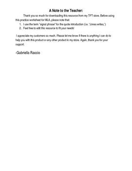 mla 8 citation practice worksheet