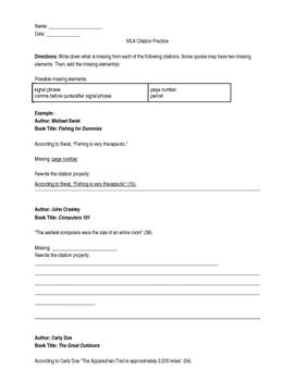Apa Citation Practice Worksheet - resultinfos