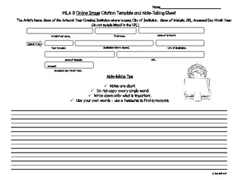 MLA 8 Internet Note-taking Sheets